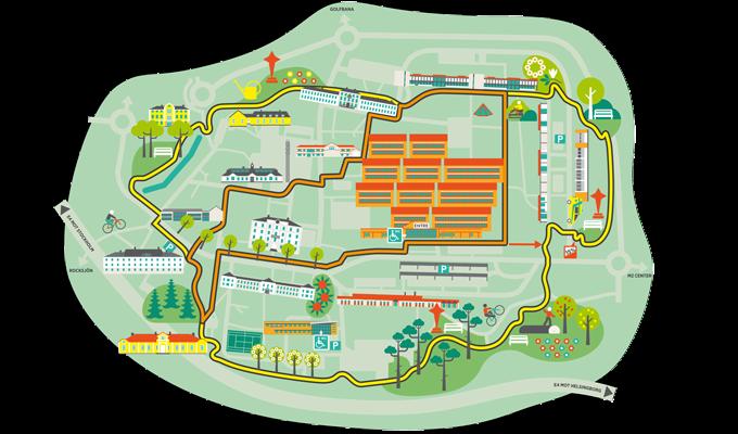 Illustrerad karta över natur- och kulturstigen Slingan i Jönköping
