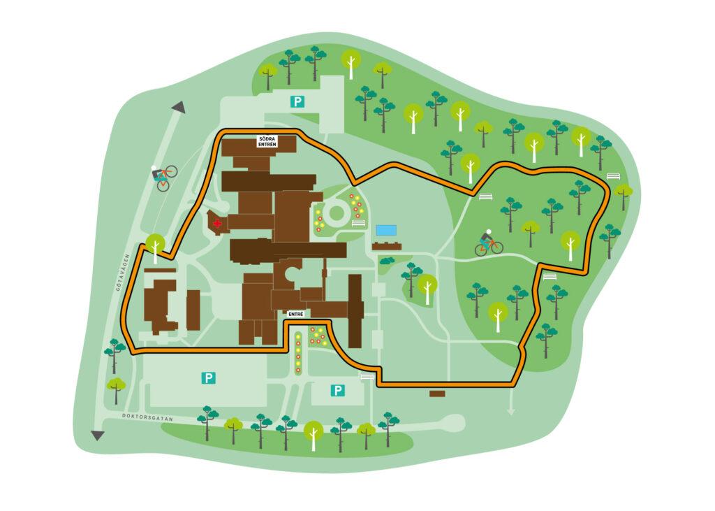 Illustrerad karta över natur- och kulturstigen Slingan i Värnamo